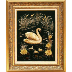"Картина из янтаря ""Лебедь"""