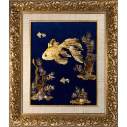 """Картина из янтаря """"Золотая рыбка"""""""