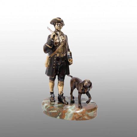 """Бронзовая статуэтка """"Охотник с собакой"""""""