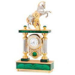 """Часы """"Конь с попоной"""" малахит"""