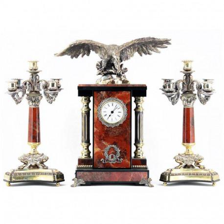 """Каминные часы с канделябрами """"Орел"""" яшма"""
