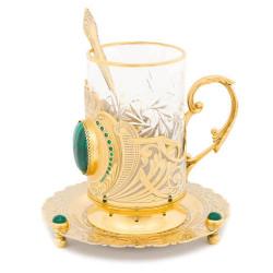 """Чайный набор """"Корона"""" малахит с фианитами"""