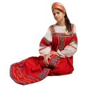 """Русский народный костюм женский """"Забава"""", цвет - красный, материал - лен"""