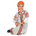 """Русский народный костюм женский """"Забава"""", цвет - натуральный, материал - лен"""