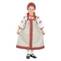 """Русский народный костюм детский """"Забава"""", цвет - натуральный, материал - лен"""