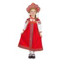 """Русский народный костюм детский """"Забава"""", цвет - красный, материал - лен"""