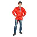 Косоворотка, цвет - красный, материал - атлас