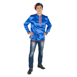Косоворотка, цвет - синий, материал - атлас