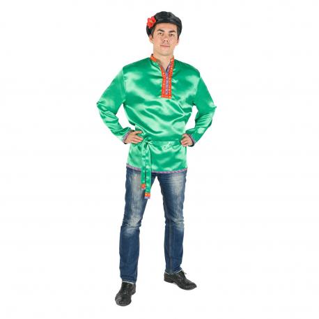 Косоворотка, цвет - зеленый, материал - атлас