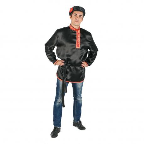 Косоворотка, цвет - черный, материал - атлас