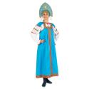 """Русский народный костюм женский """"Маруся"""", цвет - бирюзовый, материал - х/б"""