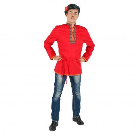 Косоворотка, цвет - красный, материал - х/б