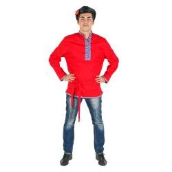 Косоворотка, цвет - красный, материал - лен