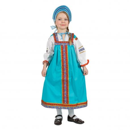 """Сарафан детский """"Дуняша"""", цвет - бирюзовый"""