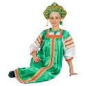 """Русский народный костюм женский """"Варвара"""", цвет - зеленый, материал - атлас"""