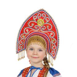 """Кокошник """"Ярославна"""", цвет - красный"""