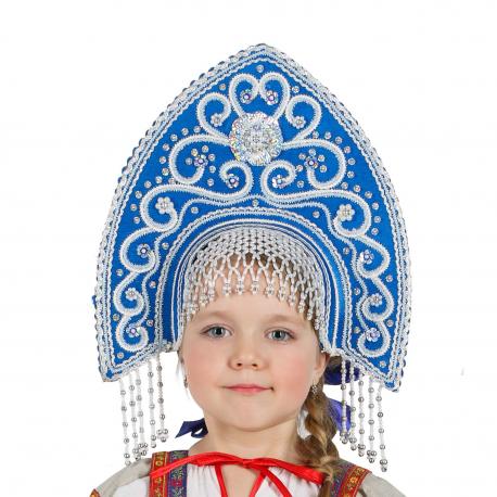 "Кокошник ""Ярославна"", цвет - синий"