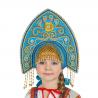"""Кокошник """"Ярославна"""", цвет - бирюзовый"""