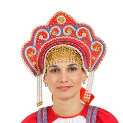 """Кокошник """"Фантазия"""", цвет - красный"""