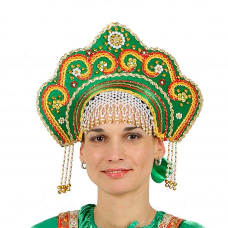 """Кокошник """"Фантазия"""", цвет - зеленый"""