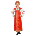 """Русский народный костюм женский """"Варвара"""", цвет - красный, материал - атлас"""