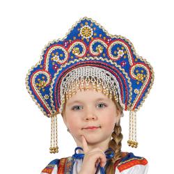 """Кокошник """"Фантазия"""", цвет - синий"""