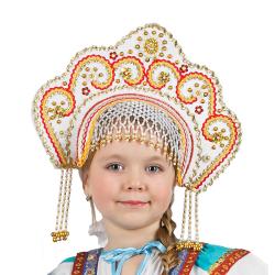"""Кокошник """"Фантазия"""", цвет - белый"""
