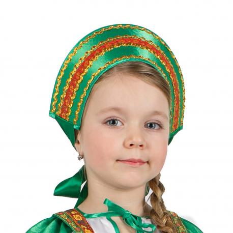 Кокошник с тесьмой, цвет - зеленый