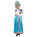 """Русский народный костюм женский """"Варвара"""", цвет - бирюзовый, материал - атлас"""