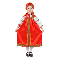 """Русский народный костюм детский """"Настенька"""", цвет - красный, материал - атлас"""