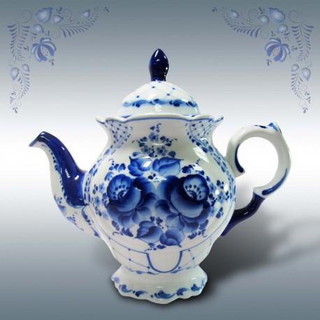 """Чайник Гжель """"Тюльпан"""", гжельский фафор, высота 20 см"""