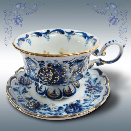 Чайная пара Гжель, автор Петин, гжельский фафор