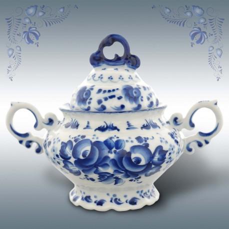 Сахарница Гжель (чайный сервиз), автор Петин, гжельский фарфор