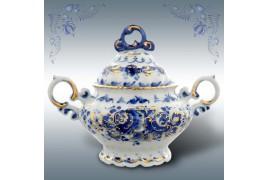 Сахарница Гжель (чайный сервиз), автор Петин, гжельский фарфор, высота 15 см
