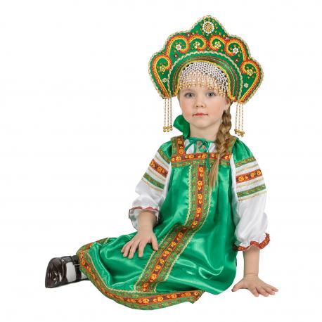 """Сарафан детский """"Василиса"""", цвет - зеленый"""