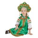 """Русский народный костюм детский """"Настенька"""", цвет - зеленый, материал - атлас"""