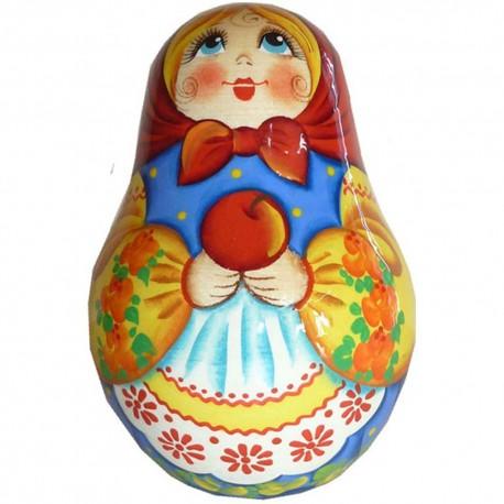Неваляшка Девочка с яблоком (высота 11 см., D7 см.)