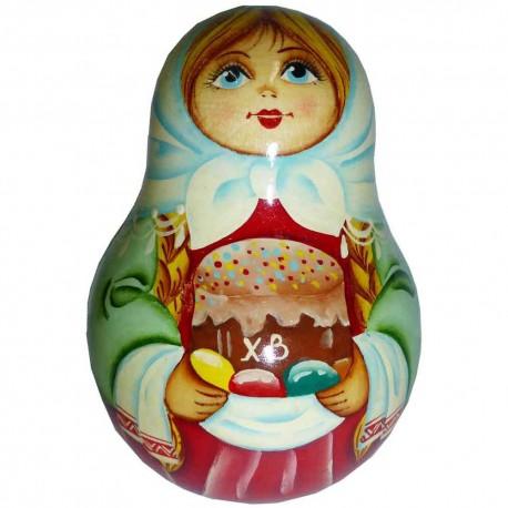 Неваляшка Девочка с куличом (высота 11 см., D7 см.)