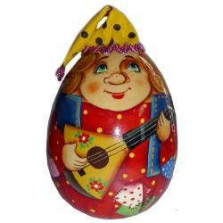 Неваляшка-яйцо Скоморох с балайкой (высота 11 см., D6 см.)