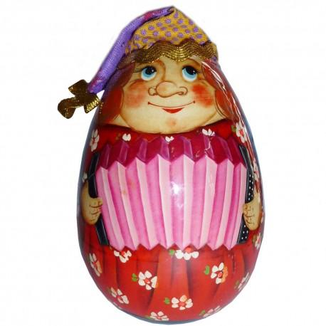 Неваляшка-яйцо Скоморох с гармонью (высота 11 см., D6 см.)