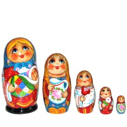 Матрешка 5 мест Девочка с младенцем (высота 11 см., D5 см.)