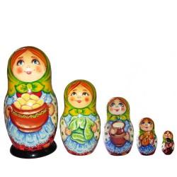 Матрешка 5 мест Женщина с картошкой (высота 16 см., D7 см.)