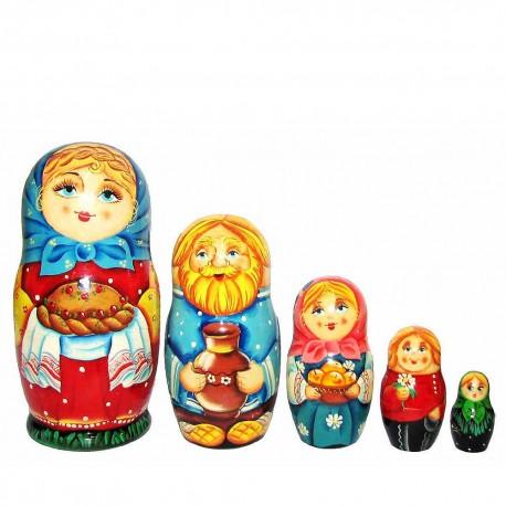 Матрешка 5 мест Деревенский праздник (высота 16 см., D7 см.)
