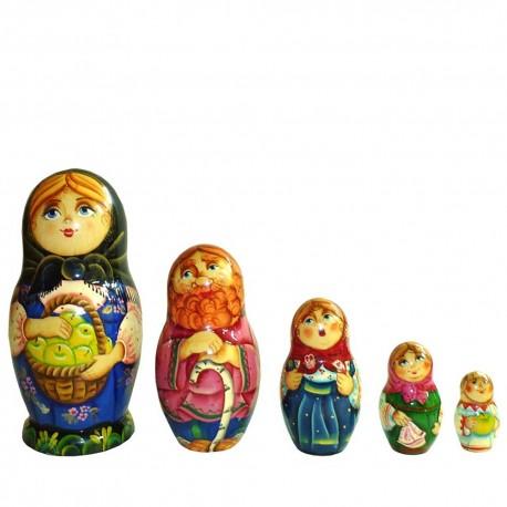 Матрешка 5 мест Девушка с яблоками (высота 16 см., D7 см.)