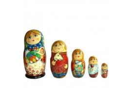 Матрешка 5 мест Девушка с младенцем (высота 16 см., D7 см.)