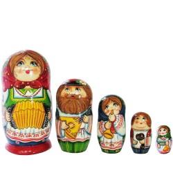 Матрешка 5 мест Фольклорная семья (высота 16 см., D7 см.)