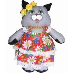 Игрушка лоскутная Кошка в сарафане (высота 26 см.)