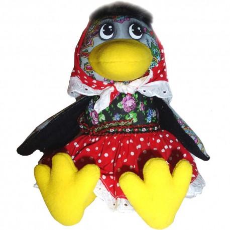 Игрушка лоскутная Ворона сидячая (высота 23 см.)