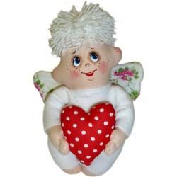 Оберег домашний Ангел мальчик с сердцем (высота 20 см.)